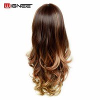 "Wignee Synthetic Wig With Bangs For Black White Women Long 24""High Temperature Fiber 3Tone Ombre Brown Glueless Cosplay Hair Wig"
