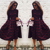 Women's Long Sleeve Rhombus Printed Long Princess Dress Autumn Slim Fit Round Collar Maxi Skirt S-XL = 5618509505