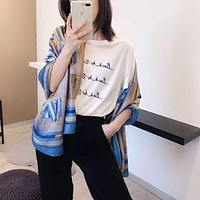 """""""Hermes"""" Spring Summer Women Temperament Fashion Spell Color  Double-Sided  Letter Print  Silk Scarf Shawl"""