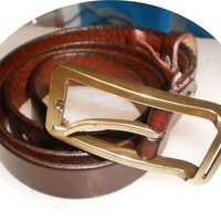 classic chocolate brown leather belt with square by G2Pleather