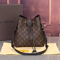 LV Popular Women Shopping Bag Retro Leather Handbag Tote Shoulder Bag Satchel Black