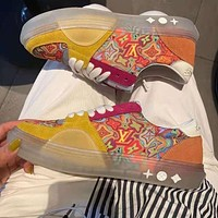 LV Louis Vuitton two-tone lace-up summer new casual sports shoes breathable all-match sneakers Shoes Yellow