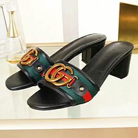GUCCI New fashion letter stripe shoes flip flop slippers?Black