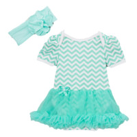 Teal Chevron Skirted Bodysuit Set & Headband