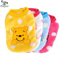 Cartoon Small Dog Clothes Soft Fleece Winter Warm Cup Dog Vest New Born Puppy Clothing