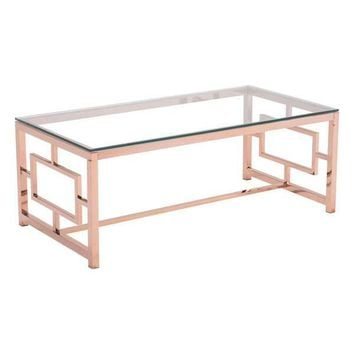 Geranium Coffee Table Rose Gold Polished Stainless Steel