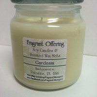 GARDENIA scented Soy Candle, 16 oz. jar with fitted glass lid, handmade, individually hand-poured candle