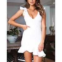 New fashion solid color v-neck vest dress White