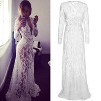 Women Fashion Sexy Deep V Neck Long Sleeve Elastic High Waist Sheer Lace Maxi Long Dress Maternity Photography Props Plus Sizes [9221271620]