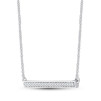 10k White Gold Round Diamond Bar Pendant Chain Necklace 1/10 Cttw