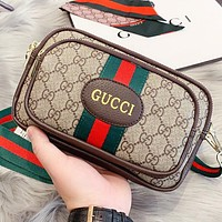 GUCCI New fashion stripe more letter leather shoulder bag crossbody bag Khaki