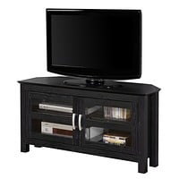 "44"" Black Wood Corner TV Stand Console"