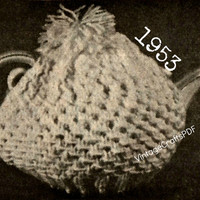 1953 Knitting Pattern | Tea Cozy | Tea Party-Tea Cups-Tea Pot-Kitchen Knitting Pattern-Knitting Gift-Vintage Crafts PDF- Direct from USA