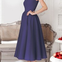 Navy Blue Plain Pleated Round Neck Party Midi Dress