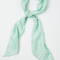 Vintage Inspired Bow to Stern Scarf in Sea Foam Dots by ModCloth