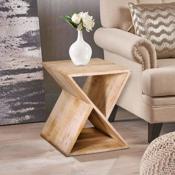 Handcrafted Mango Wood Z Shaped End Table with Open Bottom Shelf, Brown
