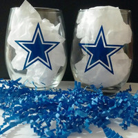 Dallas Cowboy Stemless Wineglasses Set of 2
