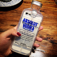 """New Style Luxury absolute Vodka alcohol Wine Bottle Transparent Clear TPU Phone Case For Iphone 5 5S 6 4.7""""  6 Plus 5.5"""""""