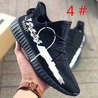 Adidas Yeezy Boost 350 & Off white Fashion new letter print sports Running women men shoes Black