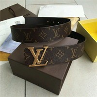 Louis Vuitton LV Belt golden Reversible 40mm Monogram Belt Size 110CM**