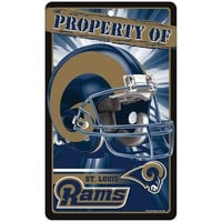 St. Louis Rams NFL Property Of Plastic Sign (7.25in x 12in)