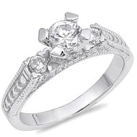 3 Stone 4 Prong Set Cubic Zirconia Sterling Silver Engagement Ring