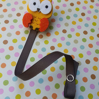 Yellow Felt Owl Pacifier Clip, Baby Boy Pacifier Clip, Boy Baby Shower Gift, Infant Baby Boy Pacifier Clip