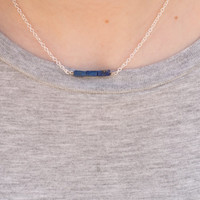 Lapis Lazuli Bar Necklace// Simple Gemstone Layering Necklace