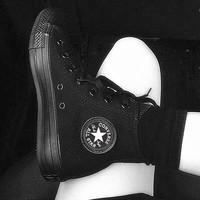 Converse Fashion Canvas Flats Sneakers Sport Shoes High tops Black