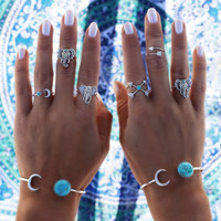 6PCS/LOT  Turkish Vintage Steampunk Elephant Moon Arrow Ring Set Anillos Midi Finger Ring Knuckle anelli Rings for Women Anel