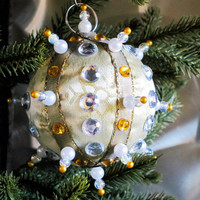 Christmas Ornament, Gold Ball with Silver & Pearl Accents in Gift Box, Handmade Fabric Tree Decoration, Holiday Decor, Hostess Gift Wrapped