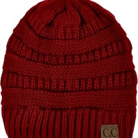 CC Thick Knit Beanie, Red