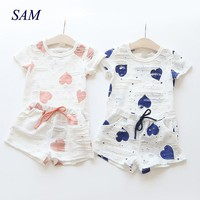 Baby Girls Clothes Sets 2018 Summer Heart Printed Girl Short Sleeve Tops Shirts + Shorts Casual Kids Children's Clothing Suit