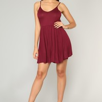 Pretty Playful Skater Dress - Burgundy