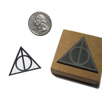 Harry Potter Stamp Deathly Hallows Symbol Rubber Stamp 1.25 inch Handmade Rubber Stamp - Wood Mounted Hand Carved Deathly Hallows Stamp
