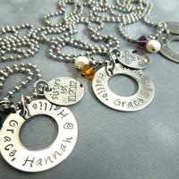 Best friends set of 3 necklaces hand stamped by ajscustomjewelry