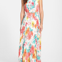 Multicolor Floral Print Sleeveless High Waist Belted Maxi Pleated Dress
