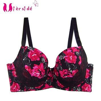 Mierside 5 Color Plus size Large Bra Stitching Red Printing with Lace Bralette Women Underwear Sexy Lace 32-42 D/DD/DDD/F 955
