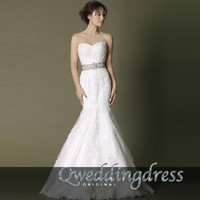 2015 Cute white lace slim fishtail sweep train wedding dress, original design bridal dress with sash