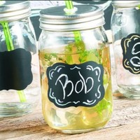 Set of Four (4) 15-oz Chalkboard Mason Jar Beverage Cups ~ 4 Clear Glass Drink Cups with Metal Lid, Straw and Chalk Included:Amazon:Kitchen & Dining
