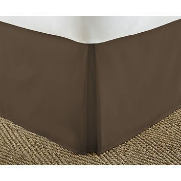 Soft Essentials Premium Pleated Bed Skirt Dust Ruffle - Chocolate - Cal King