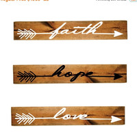ON SALE - Aztec Faith Hope Love Arrow Wood Sign Set - Girls Bedroom Decor, Wall Decor, Reclaimed Barn wood, Wood Home Decor, Gift for Her, V