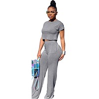 Casual Two Piece Set Crop Top and Wide Leg Pants Fall 2019 Sexy 2 Piece Outfits for Women Clothing Set