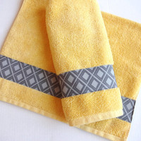 Set of 2 Hand Towels, yellow and grey, yellow,  yellow towels, grey and yellow, chevron bathroom, hand towel sets, august ave, custom