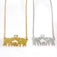Family Love Elephant Pendant
