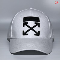 Off White New fashion embroidery cross arrow couple cap hat 2#