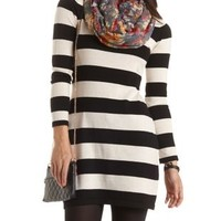 Striped Sweater Dress by Charlotte Russe - Black Combo