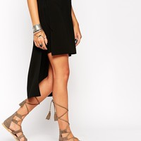 ASOS FEEL THE POWER Suede Lace Up Flat Sandals