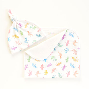 Gummy Babies Organic Cotton Baby Hat and/or Burp Cloth