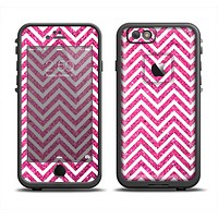 The Pink & White Sharp Glitter Print Chevron Apple iPhone 6 LifeProof Fre Case Skin Set